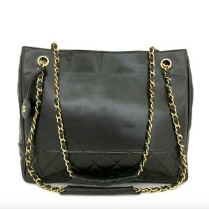 CHANEL XL Leather Classic Gold Chain CC Tote Bag